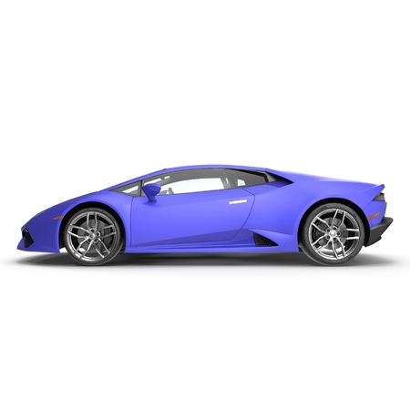 Side view of Luxury Blue 3D Sports Car on white background 3D Illustration
