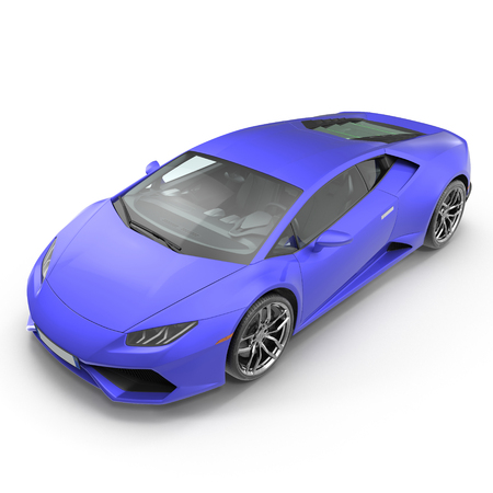 Luxury Blue 3D Sports Car On White Background 3D Illustration