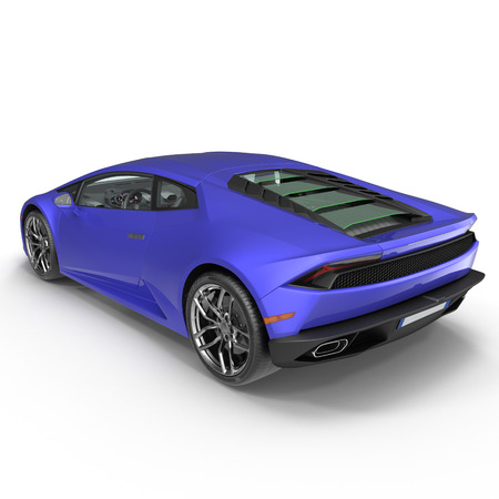 Luxury Blue 3D Sports Car on white background 3D Illustration Editorial