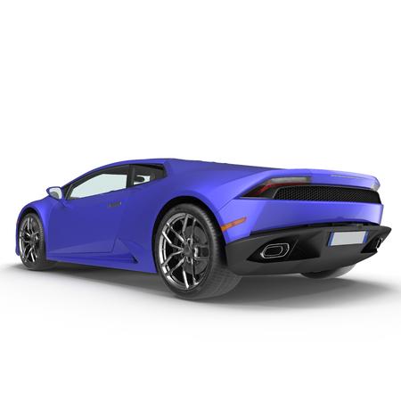 motorizado: Lujo azul 3D coche deportivo sobre fondo blanco Ilustración 3D
