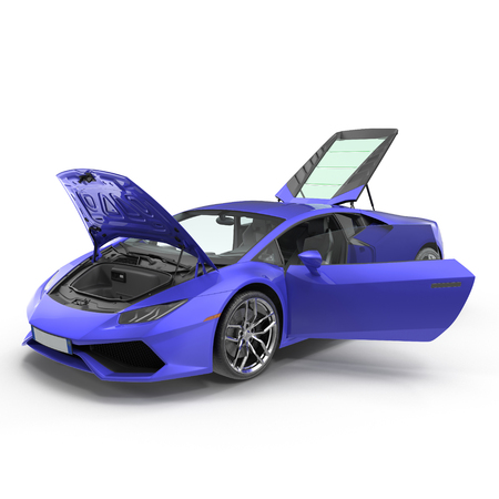 supercar: Blue supercar isolated on white background. Doors opened. 3D Illustration