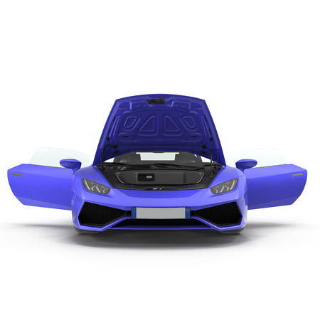 Front view Blue supercar isolated on white background. Doors opened. 3D Illustration