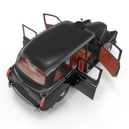 hackney carriage: Angle from up hackney carriage on white background. Doors opened. 3D illustration