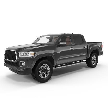 camioneta pick up: Negro Recogida de camiones sobre fondo blanco. ilustración 3D