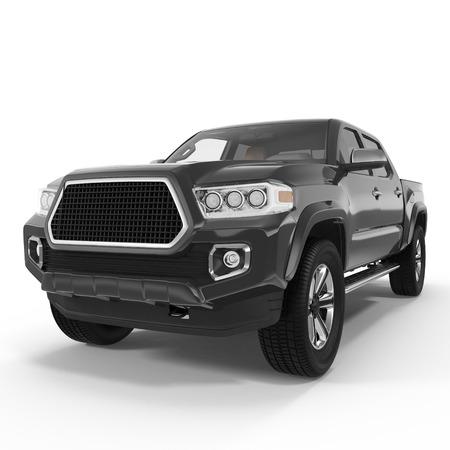 Zwarte Pick-up truck op een witte achtergrond. 3D illustratie