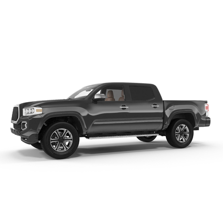 Black Pick up Truck on white background. 3D illustration Imagens