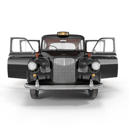 hackney carriage: Front view hackney carriage on white background. Doors opened. 3D illustration