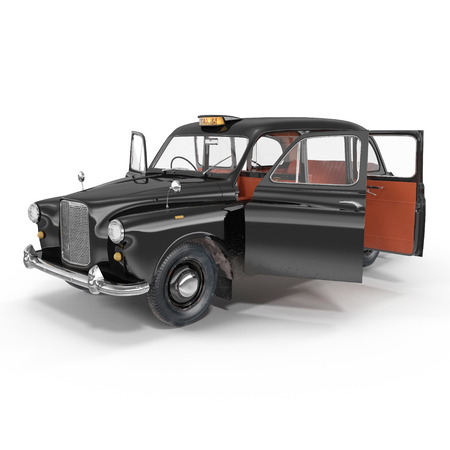 hackney carriage: hackney carriage on white background. Doors opened. 3D illustration