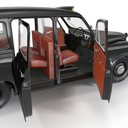 open car door: Old Black Cab interior on white background. Doors opened. 3D illustration