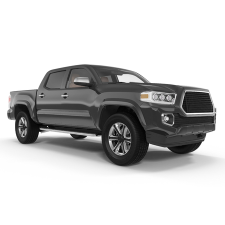 Pickup Truck on white background. 3D illustration 版權商用圖片 - 67499437