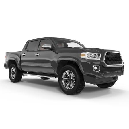 Pickup Truck on white background. 3D illustration