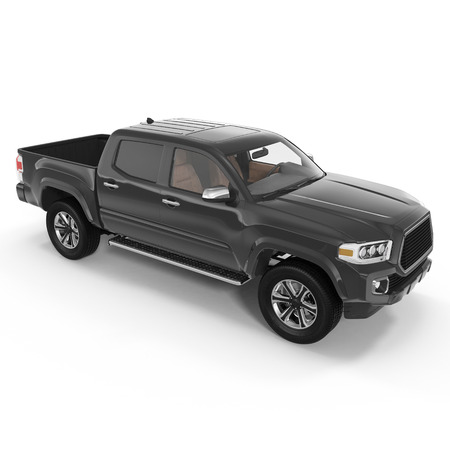 Pickup Truck on white background. 3D illustration