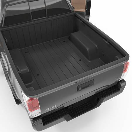 Pickup Truck Bed. Empty and clear. 3D illustration