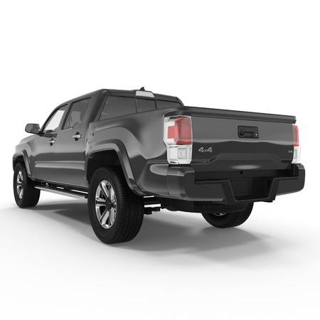 Achteraanzicht van lege pick-up truck op witte achtergrond. 3D illustratie Stockfoto - 67499452
