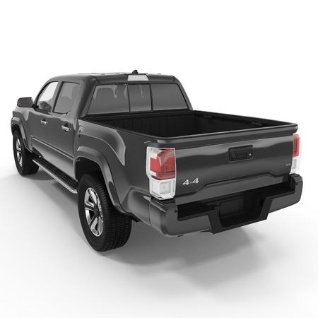 Achteraanzicht van lege pick-up truck op witte achtergrond. 3D illustratie