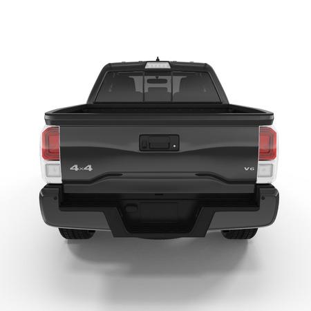 흰색 배경에 빈 픽업 트럭의 후면보기. 3D 일러스트 레이션 스톡 콘텐츠