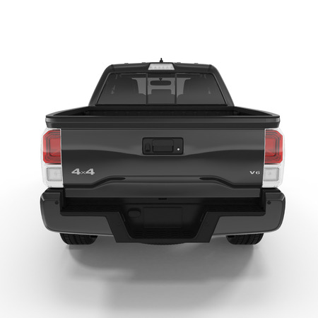 Rear view of empty pick-up truck on white background. 3D illustration Stock fotó