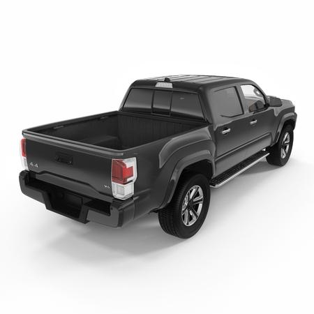 白い背景の上の空のピックアップ トラックの背面。3 D イラストレーション