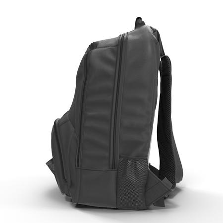 rucksack: Black school backpack isolated on white background.Sport travel rucksack closeup. 3D illustration