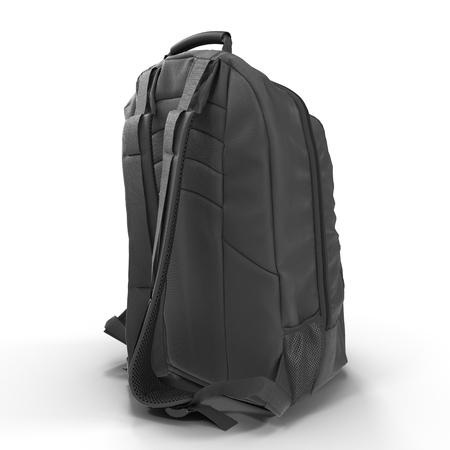 back pack: Black backpack or back pack or school bag or rucksack isolated on white background. 3D illustration Stock Photo