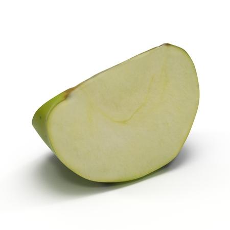green apple slice: Green apple slice isolated on white background. 3D illustration