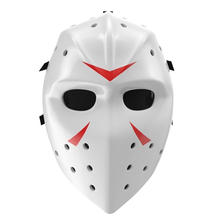 vintage hockey mask on white background. Front view. 3D illustration