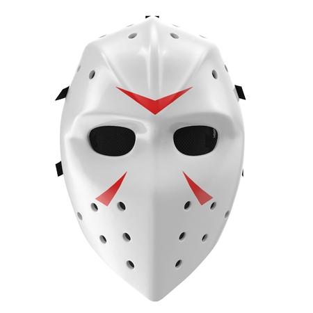 Vintage hockey masker op witte achtergrond. Vooraanzicht. 3D illustratie