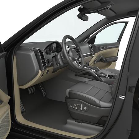 Luxus-SUV Interieur auf weißem Hintergrund. 3D-Darstellung Standard-Bild
