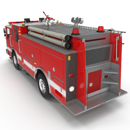 Rear view Fire Engine isolated on white background. 3D illustration Stock Photo