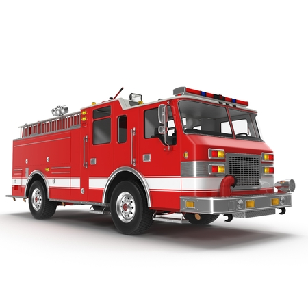 emergency response: Fire Rescue Truck isolated on white background. 3D illustration