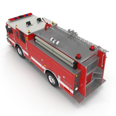 Ángulo desde arriba camión de bomberos aislado en el fondo blanco. ilustración 3D Foto de archivo