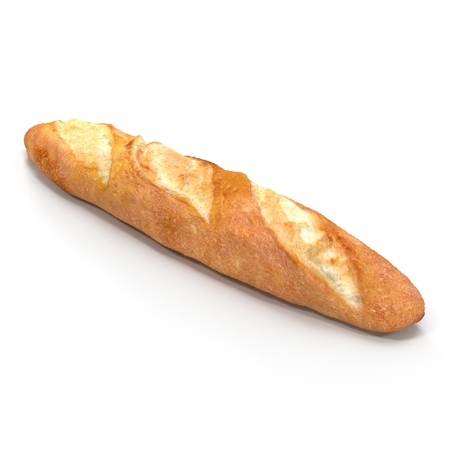 baguet: French baguette. Isolated on white background. 3D illustration Stock Photo