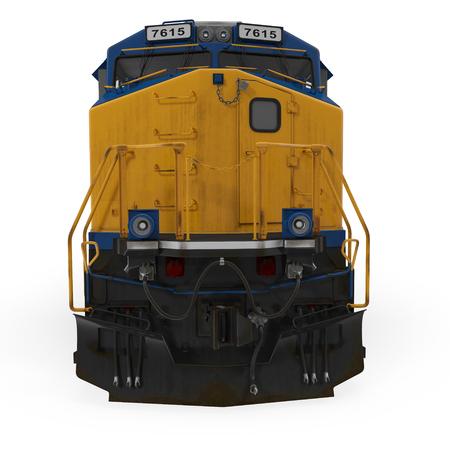 Diesel Locomotive on white background. Front view. 3D illustration Imagens