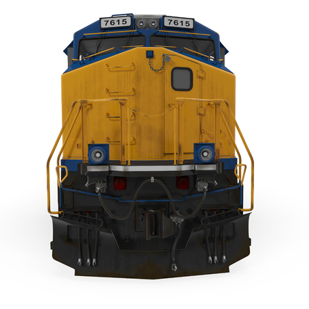 Diesel Locomotive on white background. Front view. 3D illustration Stock Photo