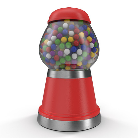 gumballs: Gumball vending machine filled with colorful gumballs isolated on white background. 3D illustration