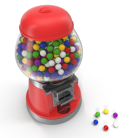Vintage red gumball machine with multi-colored gumballs on white background. 3D illustration