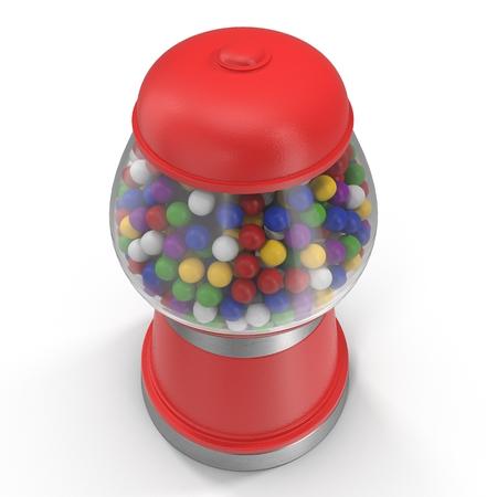 gumballs: Bubble gum vending machine isolated over white background. 3D illustration Stock Photo