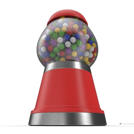 gumballs: Red Bubble gum machine over white background. 3D illustration