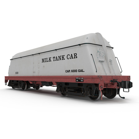 cistern: Railroad Milk Tank Car on white background. 3D illustration Stock Photo