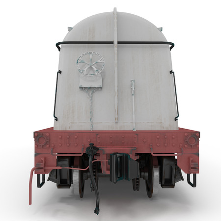 tank car: Railroad Milk Tank Car on white background. 3D illustration Stock Photo
