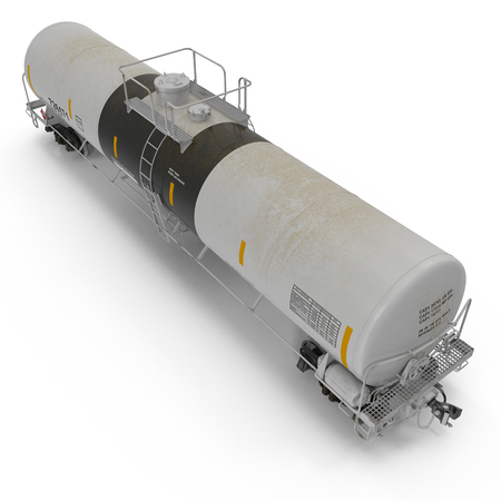 Railroad Tank Car on white background. Angle from up. 3D illustration