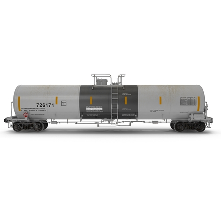 tank car: Side view Oil tank car on white background. 3D illustration Stock Photo
