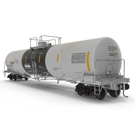 Oil tank car on white background. 3D illustration Stock Photo