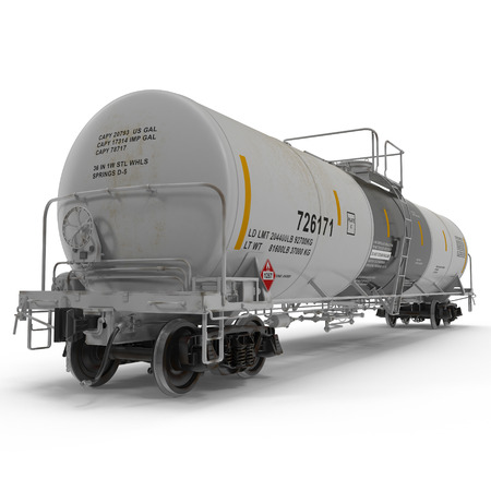 tank car: Oil tank car on white background. 3D illustration Stock Photo