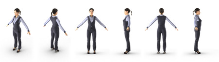fullbody: Fullbody asian business woman renders set from different angles on a white background. 3D illustration Stock Photo