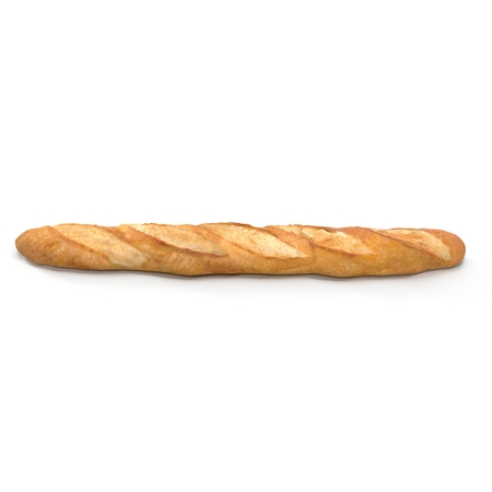 French baguette bread isolated on a white background bakery. Side view. 3D illustration Stock Photo