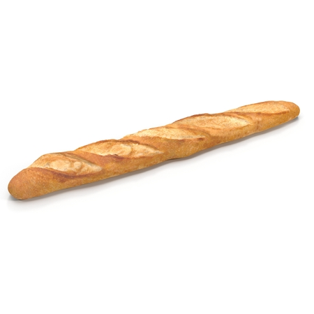 crusty: French baguette. Isolated on white background. 3D illustration Stock Photo