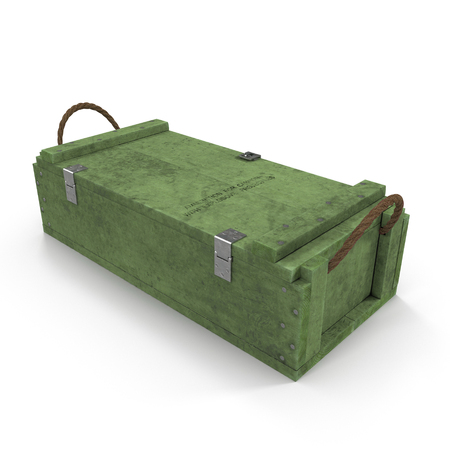 Military green box with explosive isolated on white background. 3D illustration