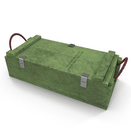 military old case box on white background. 3D illustration