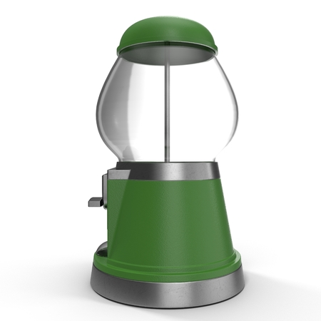 Vintage metal and glass empty candy dispenser on white background. 3D illustration